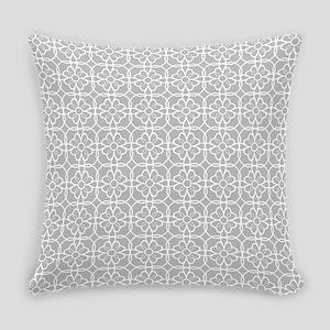 Grey Flourish Pattern Everyday Pillow