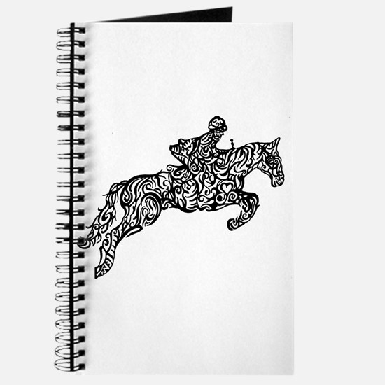 Doodle artwork of horse jumping with rider Journal