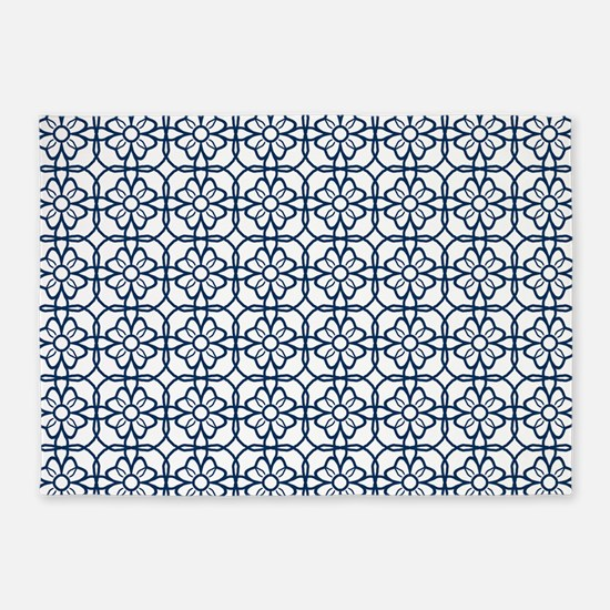Navy Blue Flourish Pattern 5'x7'Area Rug