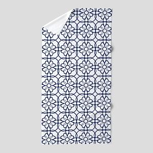 Navy Blue Flourish Pattern Beach Towel