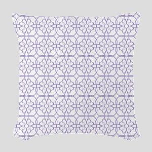 Purple Flourish Pattern Woven Throw Pillow