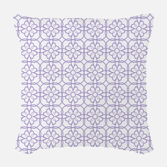 Purple Flourish Pattern Woven Throw Pillow