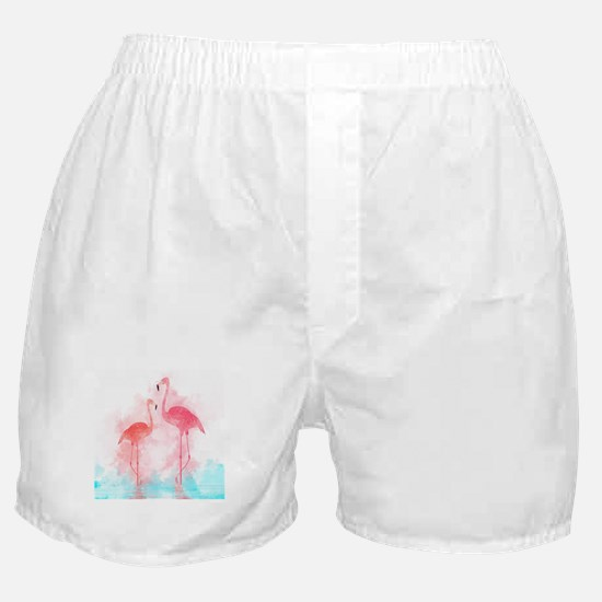Watercolor Flamingos Boxer Shorts