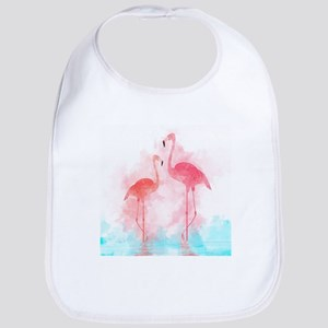 Watercolor Flamingos Baby Bib