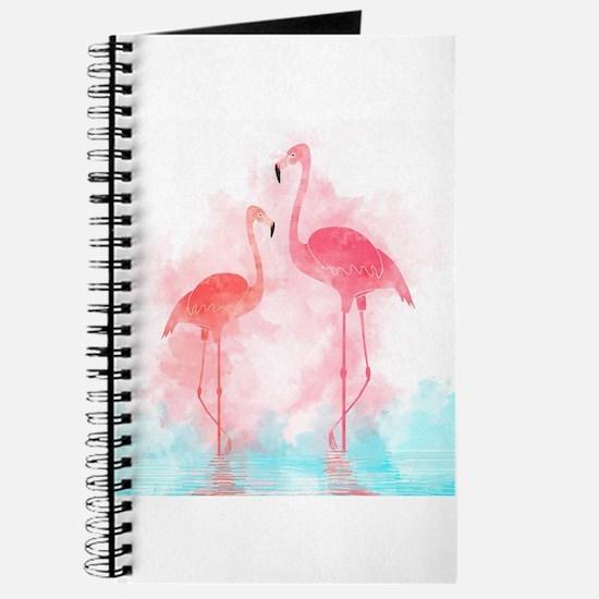 Watercolor Flamingos Journal