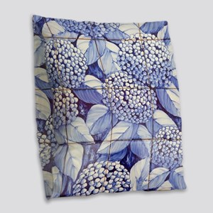 Floral tiles Burlap Throw Pillow