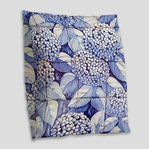 Floral tiles Burlap Throw Pillow