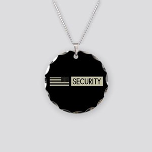 Security (Reverse Black Flag Necklace Circle Charm