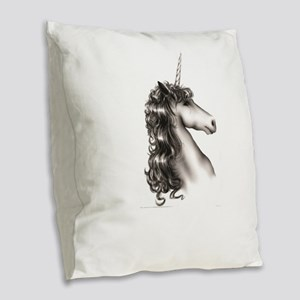 horse in gray with point Burlap Throw Pillow