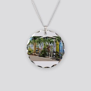 Surf board fence on Maui Necklace Circle Charm