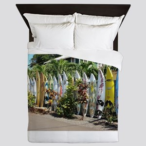 Surf board fence on Maui Queen Duvet