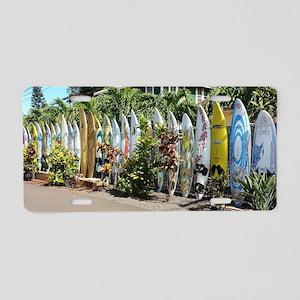 Surf board fence on Maui Aluminum License Plate