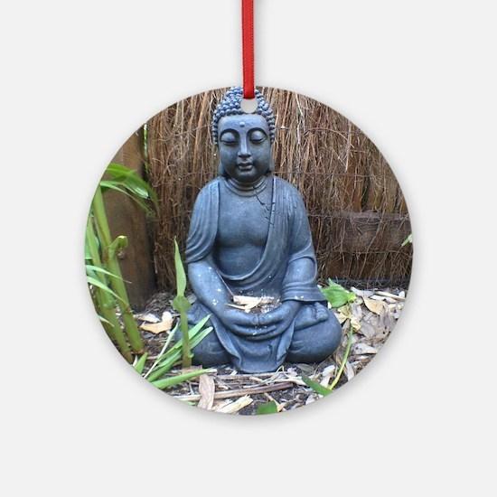 buda in garden Round Ornament