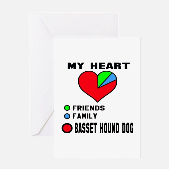 My Heart, Friends, Family, Basset Ho Greeting Card