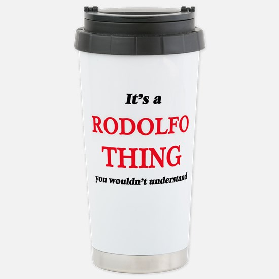 It's a Rodolfo thin Stainless Steel Travel Mug