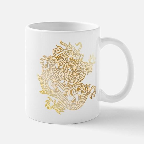 Chinese Dragon Brass Mugs