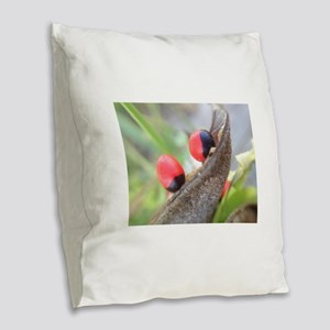 Red and Black Berries Burlap Throw Pillow