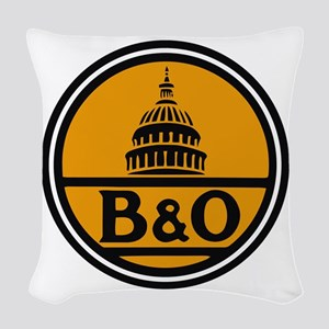 Baltimore and Ohio train logo Woven Throw Pillow