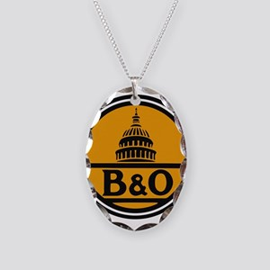 Baltimore and Ohio train logo Necklace Oval Charm