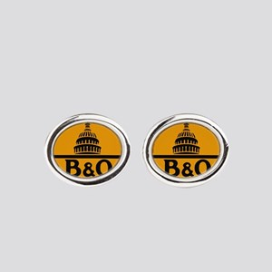 Baltimore and Ohio train logo Oval Cufflinks