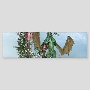 Cute little fairy with dragon Bumper Sticker