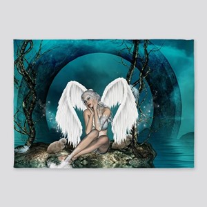 The swan fairy with wings in a fantasy landscape 5