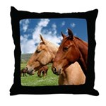 2 Horses Throw Pillow