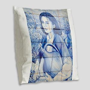 Azulejo mural Burlap Throw Pillow