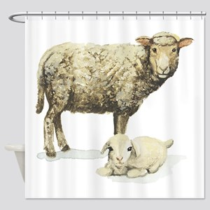Sheep and lamb Shower Curtain