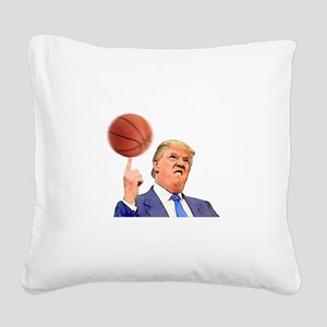 Donald Trump Spinning a Basketball Square Canvas P