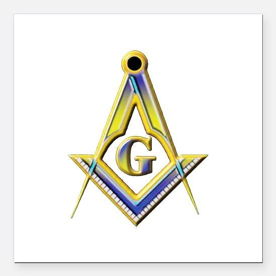 """Freemason Square & Compasses Square Car Magnet 3"""""""