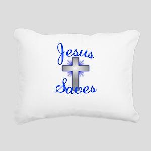 Jesus Saves Rectangular Canvas Pillow
