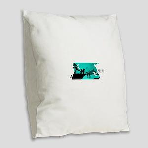 Shiba Inu Night Burlap Throw Pillow