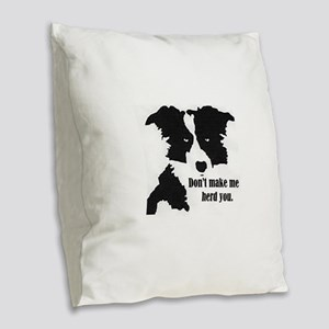 Border Collie Art Burlap Throw Pillow
