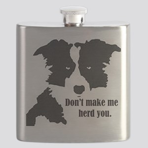 Border Collie Art Flask
