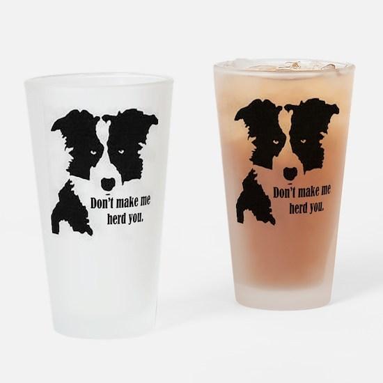 Border Collie Art Drinking Glass