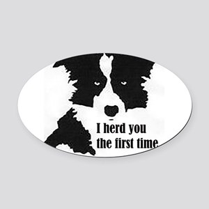 Border Collie Herd You Oval Car Magnet