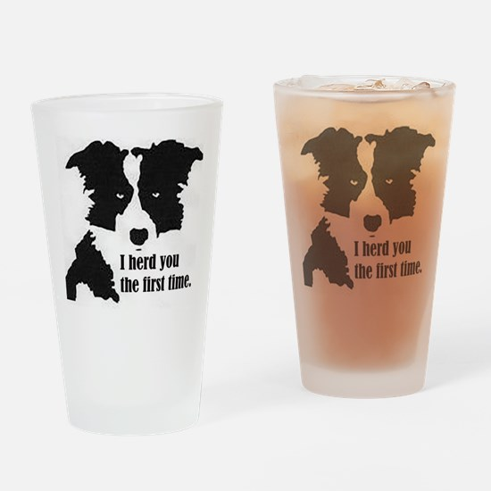 Border Collie Herd You Drinking Glass
