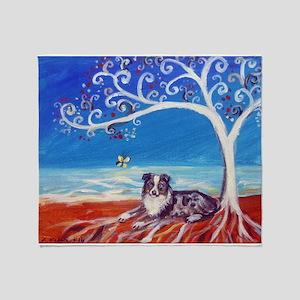 Australian Shepherd Blue Merle Throw Blanket