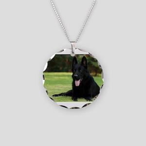 German Shepherd Necklace Circle Charm