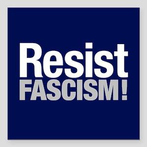 "Resist Fascism Square Car Magnet 3"" X 3"""