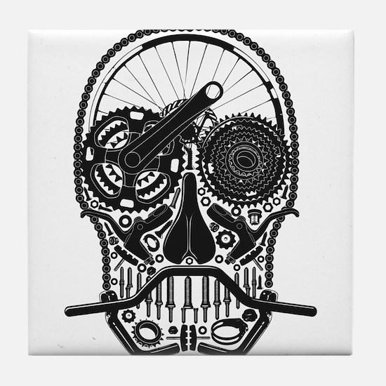 Bike Parts Skull Tile Coaster