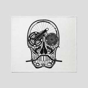 Bike Parts Skull Throw Blanket