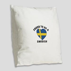 Swedish Patriotic Designs Burlap Throw Pillow