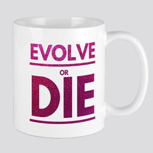 Evolve or Die Motivational Glitter Quote Mugs