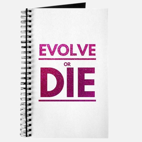 Evolve or Die Motivational Glitter Quote Journal