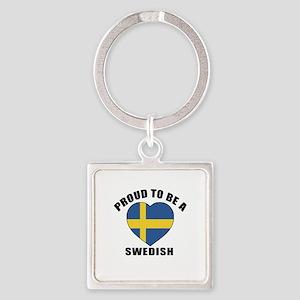 Swedish Patriotic Designs Square Keychain