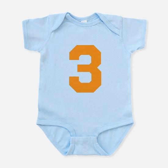 3 ORANGE # THREE Infant Bodysuit