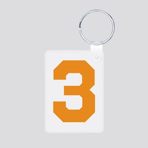 3 ORANGE # THREE Aluminum Photo Keychain