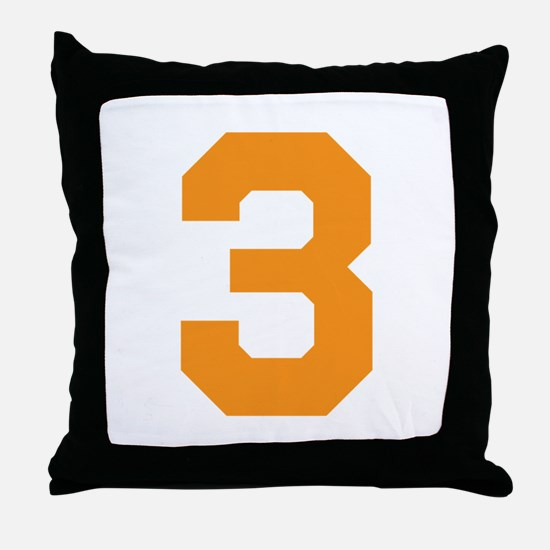 3 ORANGE # THREE Throw Pillow